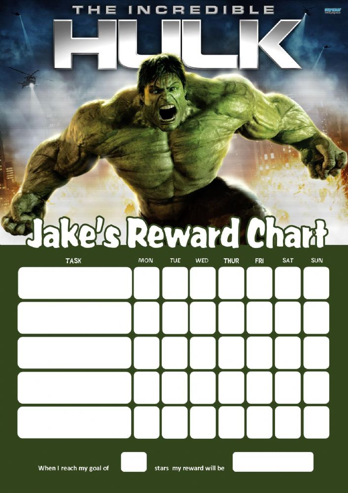 personalised the hulk reward chart adding photo option